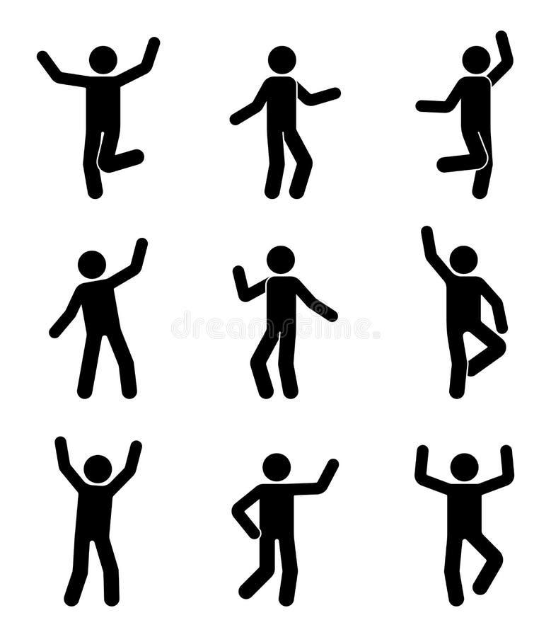 Lyckligt folkpinnediagram symbolsuppsättning Mannen i olikt poserar att fira pictogramen royaltyfri illustrationer