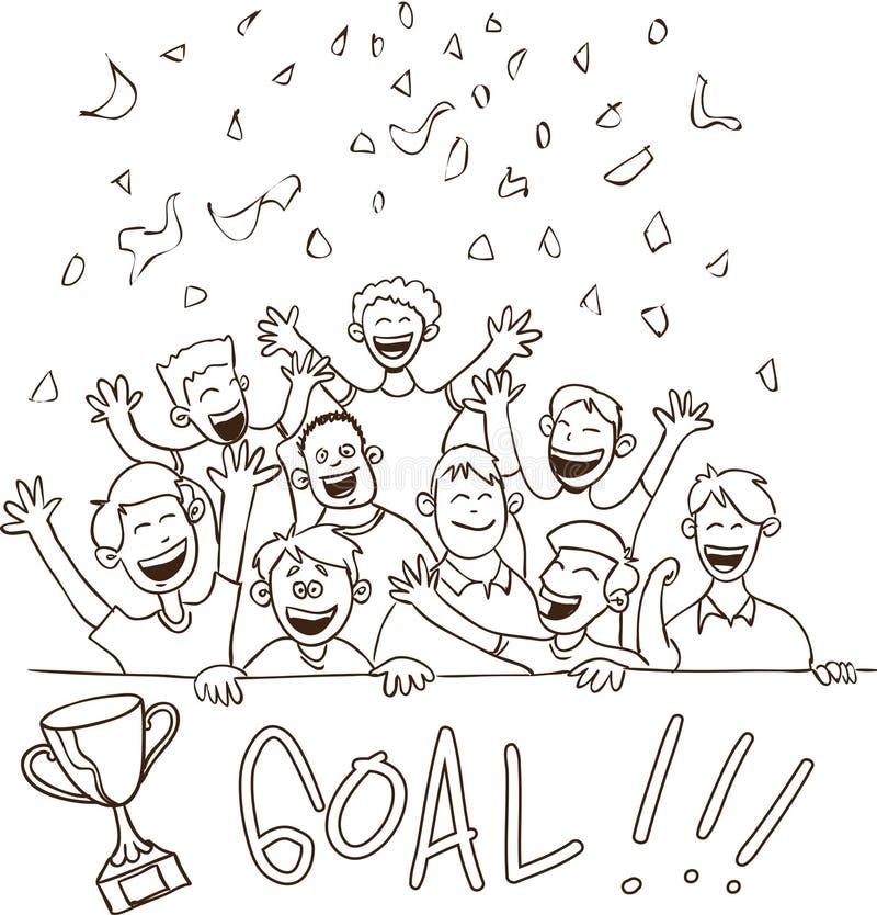 Lyckligt fotbollsupporterklotter royaltyfri illustrationer