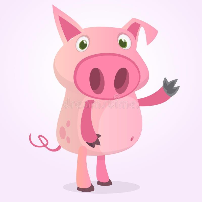 Lyckligt framlägga för tecknad filmsvin djurlantgårdliggande sommar för många sheeeps Vektorillustration av ett le piggy som isol stock illustrationer
