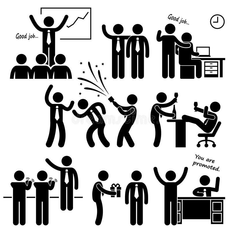 Lyckligt framstickande Rewarding Employee stock illustrationer