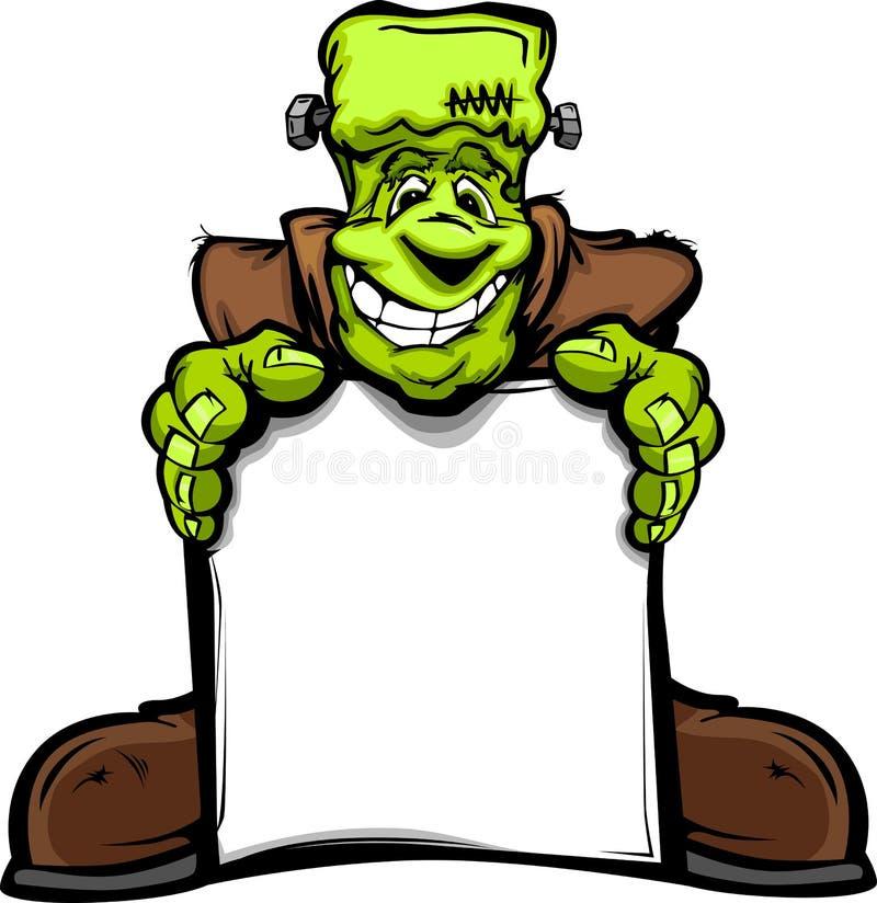 Lyckligt Frankenstein Halloween monster med tecknet royaltyfria bilder