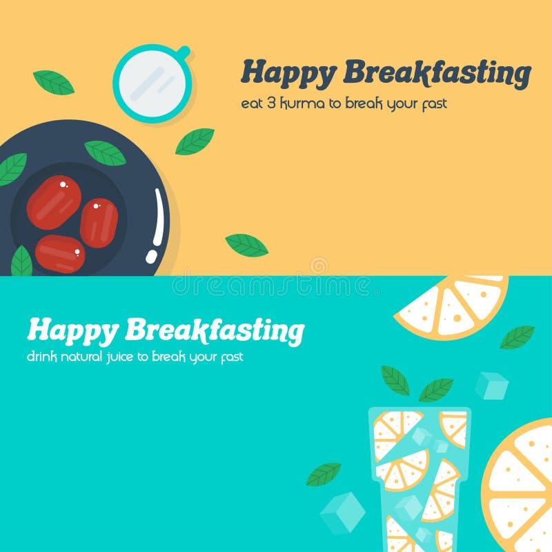 Lyckligt frukostera baner på ramadhan illustrationmall stock illustrationer