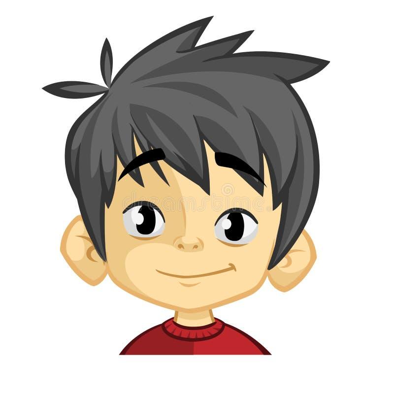 Lyckligt gladlynt skratta för pojke Vektorillustration av lite ungeframsidan Stående av en pojke som ler på en vit bakgrund royaltyfri illustrationer
