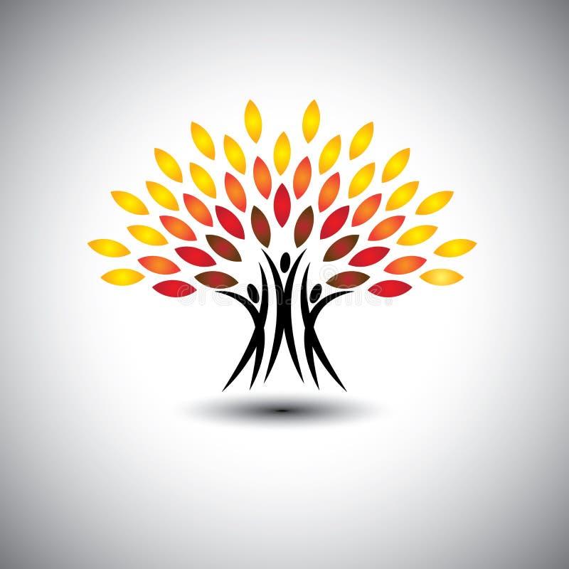 Lyckligt glat folk som träd av liv - ecobegreppsvektor royaltyfri illustrationer