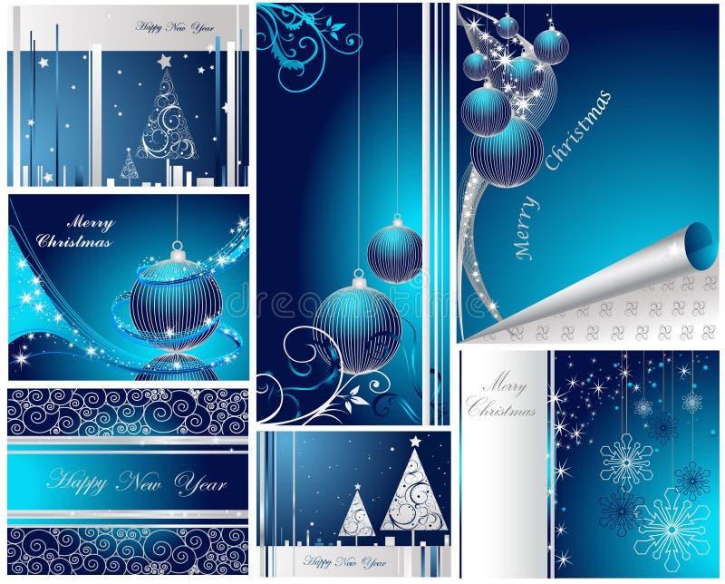 lyckligt glatt nytt år för jul stock illustrationer