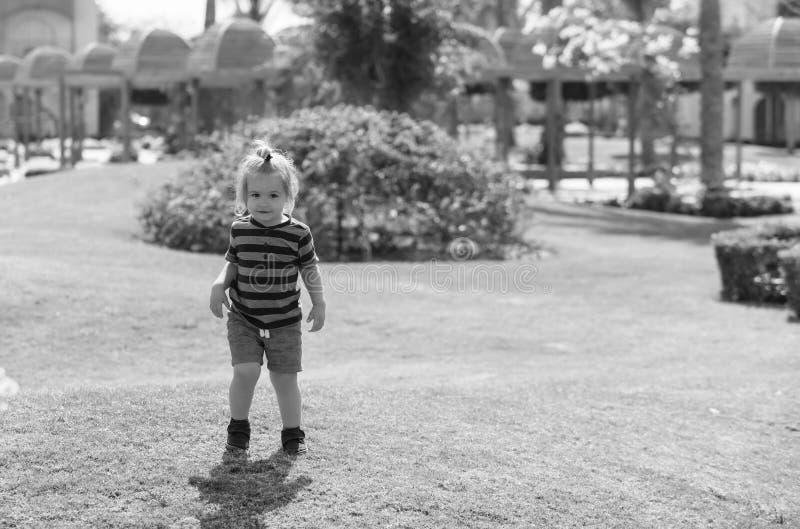 Lyckligt gulligt behandla som ett barn pojken som spelar på grönt gräs royaltyfria foton