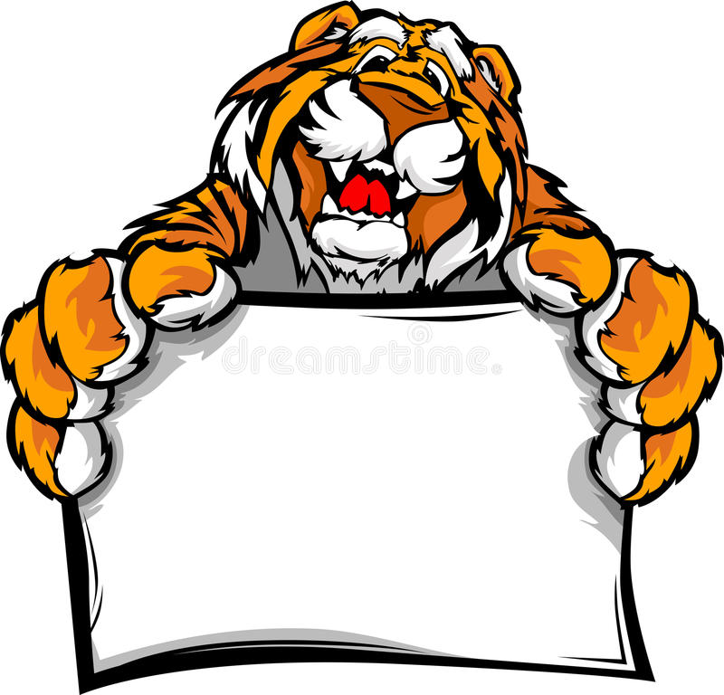 Lyckligt gulligt tecken för tigermaskotHolding stock illustrationer