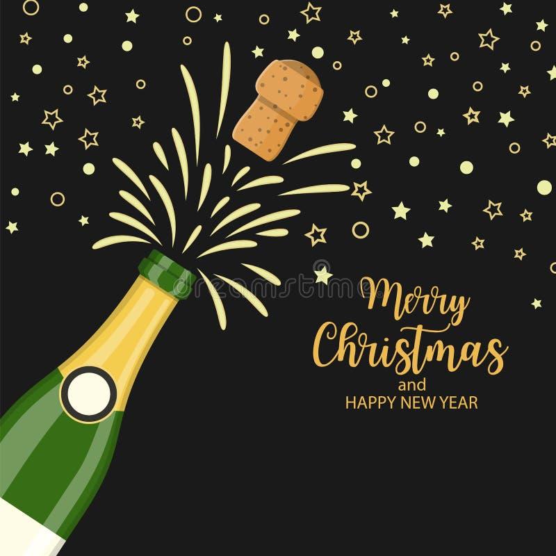 Lyckligt hälsningskort för nytt år stock illustrationer