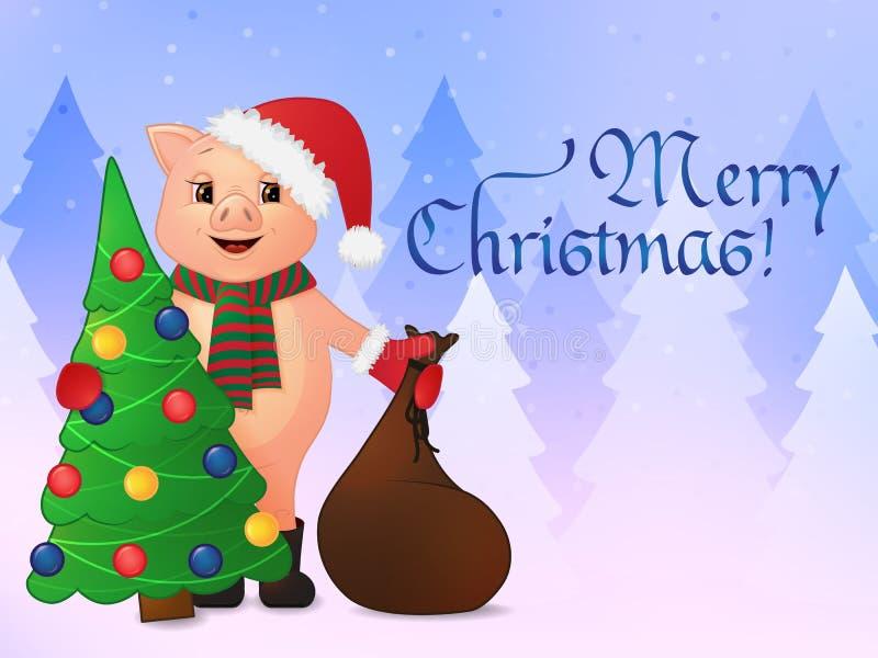 Lyckligt hälsningskort för nytt år gulligt le svin i den santa hatten på bakgrunden av skogvinterlandskapet vektor illustrationer