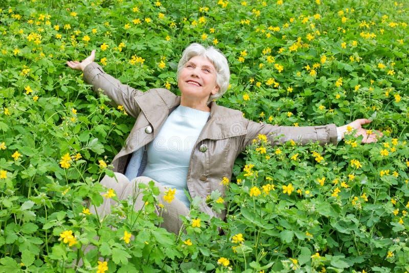 Lyckligt härligt äldre kvinnasammanträde på en glänta av guling blommar i vår royaltyfri bild