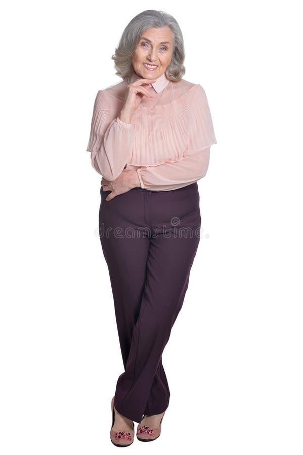 Lyckligt högt posera för kvinna arkivbild