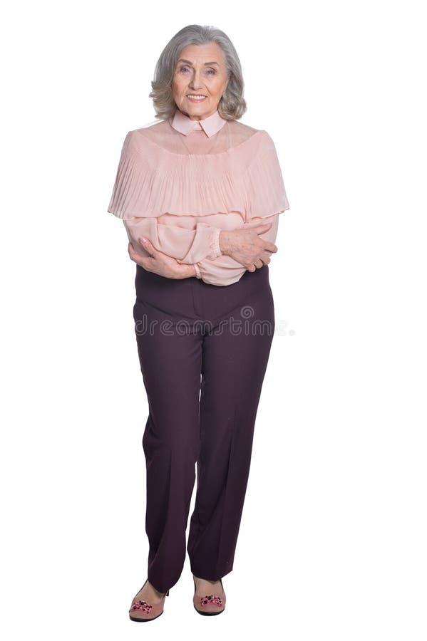 Lyckligt högt posera för kvinna royaltyfri bild