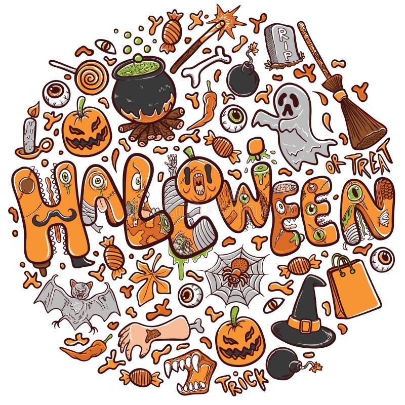 Lyckligt halloween hälsningkort eller banerferieillustration royaltyfri illustrationer