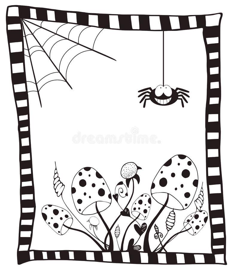Lyckligt halloween kort med lösa champinjoner, rengöringsduk och spindeln royaltyfri illustrationer