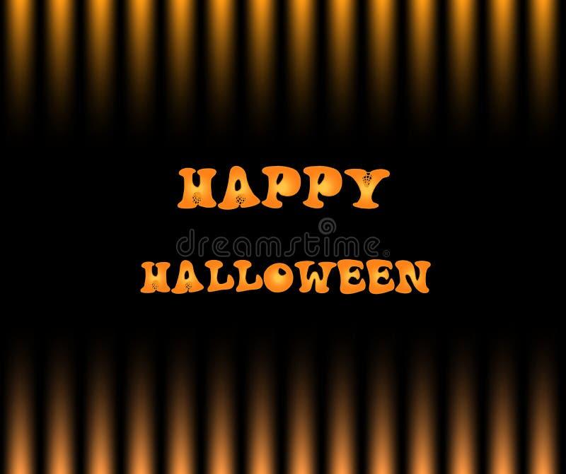 Lyckligt halloween kort med text på svart- och gulinggraderingstr stock illustrationer