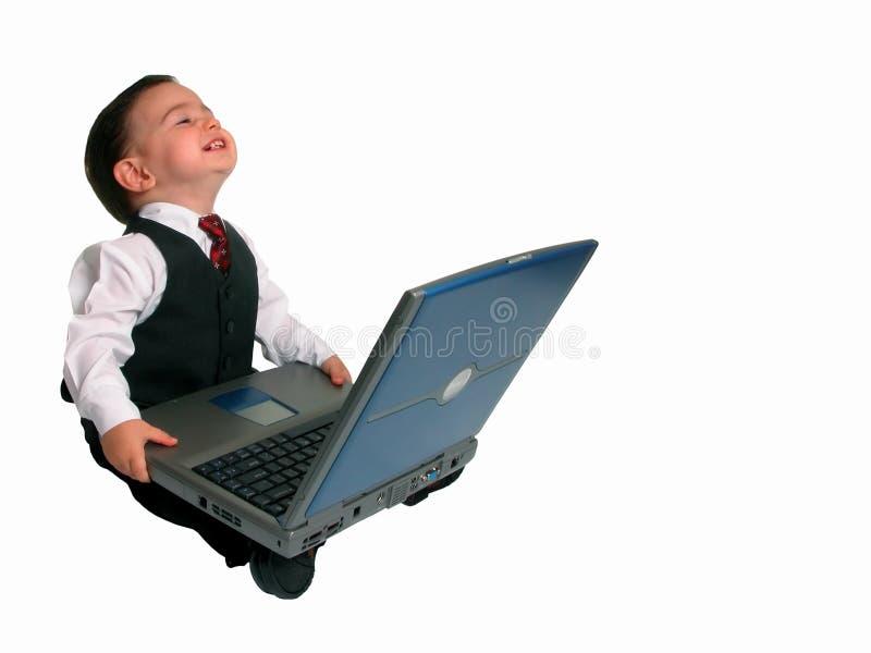 lyckligt hans bärbar dator liten manserie arkivbild