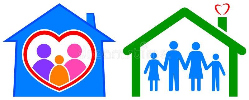 Lyckligt hem och sund familj vektor illustrationer