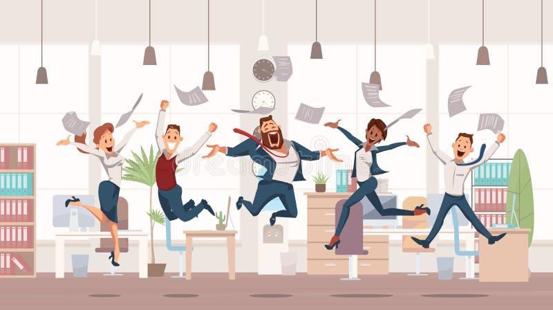 Lyckligt hoppa för kontorsarbetare också vektor för coreldrawillustration royaltyfri illustrationer