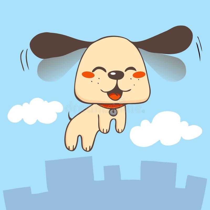 lyckligt hundflyg stock illustrationer
