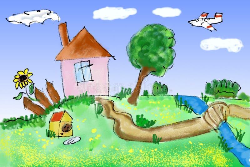lyckligt hus royaltyfri illustrationer