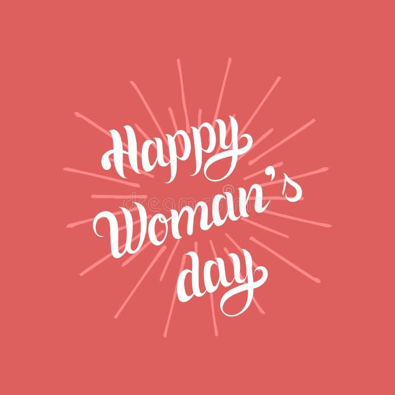 Lyckligt internationellt kort för hälsning för dag för kvinna` s, affisch 8th av typ för marschvektorbegrepp stock illustrationer
