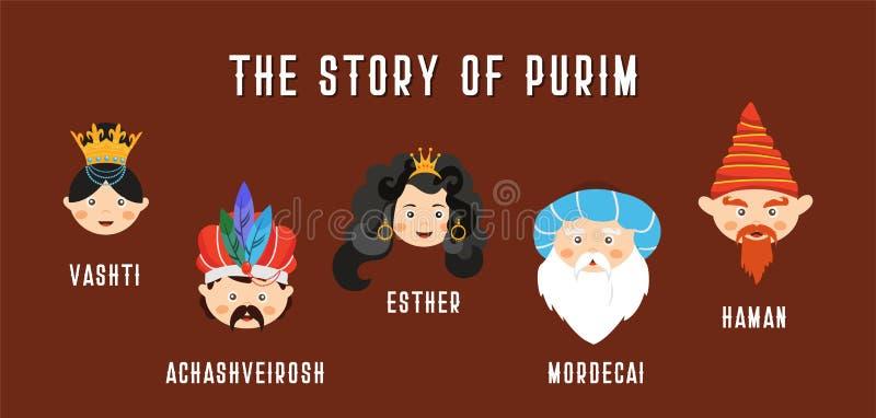 Lyckligt judiskt nytt år Purim i hebréiskt och engelskt berättelsen av Purim med traditionella tecken banermall vektor illustrationer