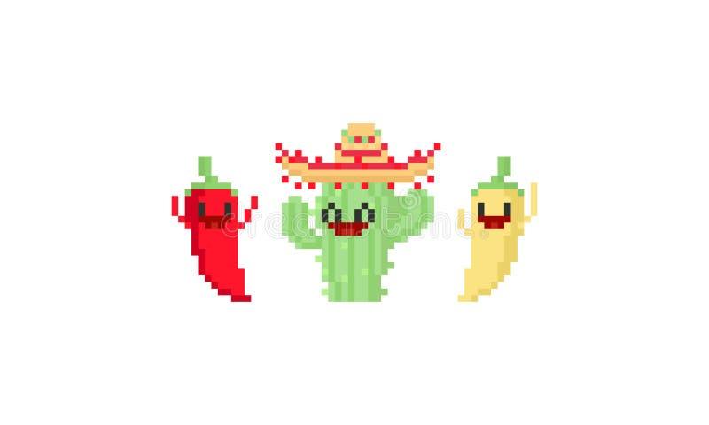 Lyckligt kaktus- och chilitecken för PIXEL cinco de mayo 8bit royaltyfri illustrationer