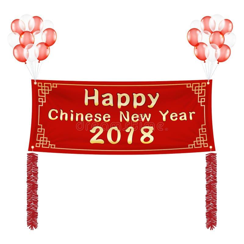 Lyckligt kinesiskt baner 2018 för nytt år med ballonger stock illustrationer