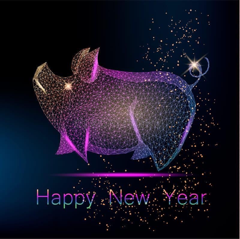 Lyckligt kinesiskt hälsningkort för nytt år med det gulliga färgrika polygonal svinet royaltyfri illustrationer