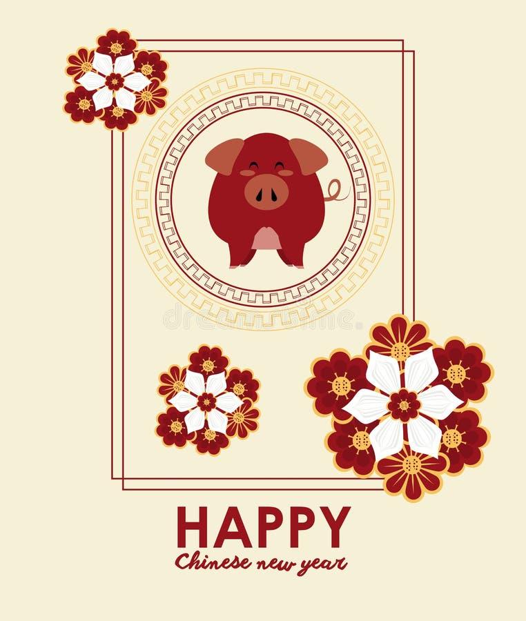 Lyckligt kinesiskt kort f?r nytt ?r royaltyfri illustrationer