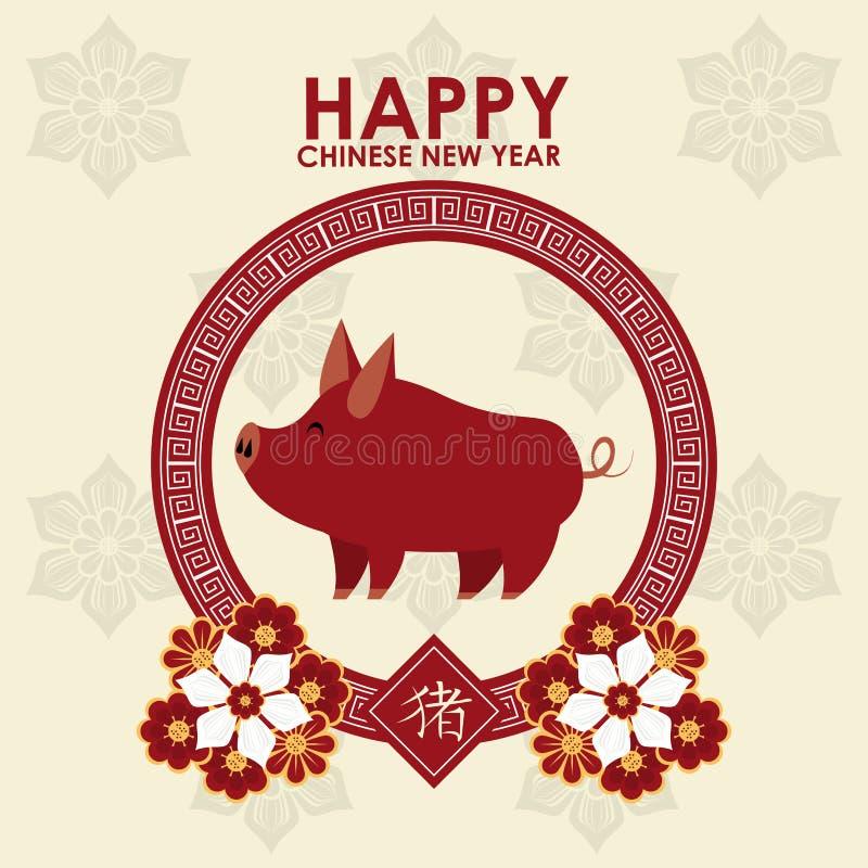 Lyckligt kinesiskt kort f?r nytt ?r stock illustrationer