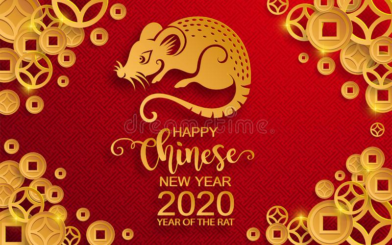 Lyckligt kinesiskt nytt år 2020 stock illustrationer