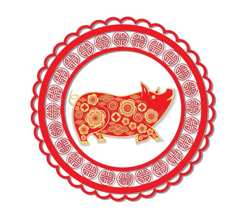 Lyckligt kinesiskt nytt år 2019 år av stilen för svinpapperssnitt Zodiaktecken för hälsningskortet, reklamblad, inbjudan, affisch vektor illustrationer