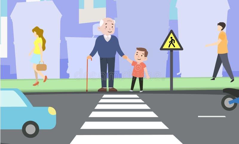 Lyckligt kors för pojkehjälpfarfar vägen vektor illustrationer