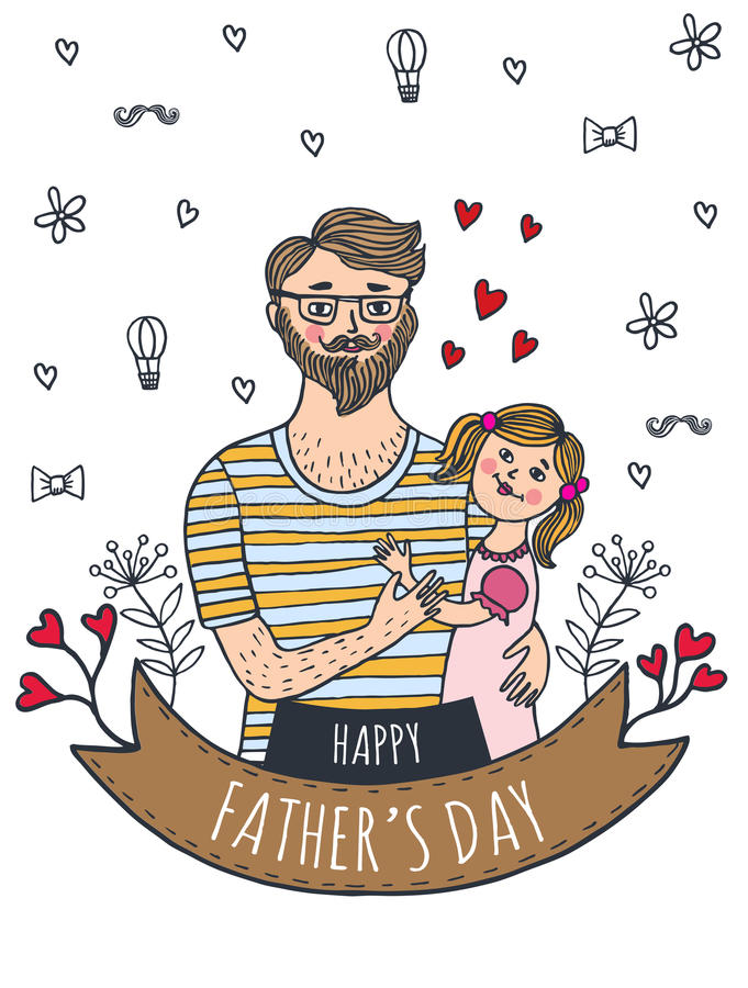 Lyckligt kort för faderdag med farsan och dottern stock illustrationer