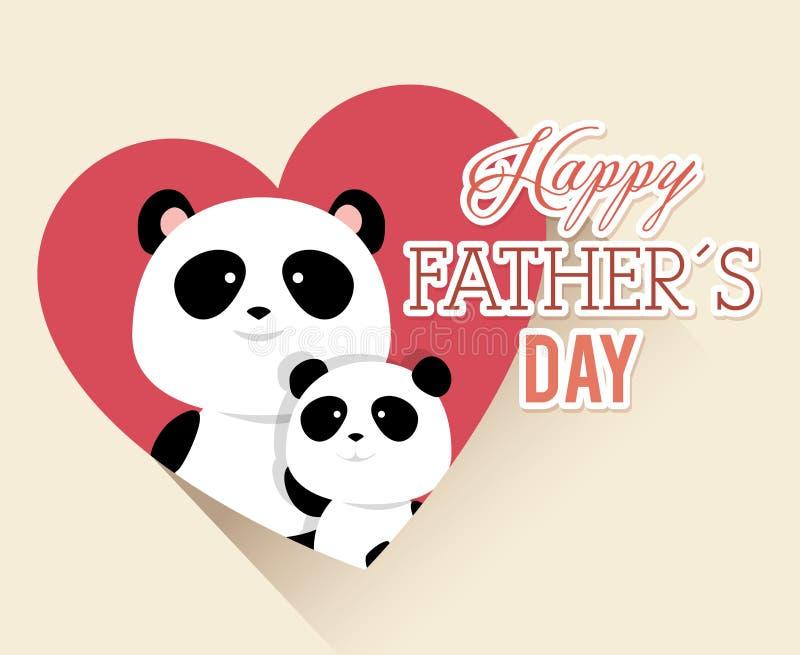 Lyckligt kort för faderdag med pandabjörnar royaltyfri illustrationer