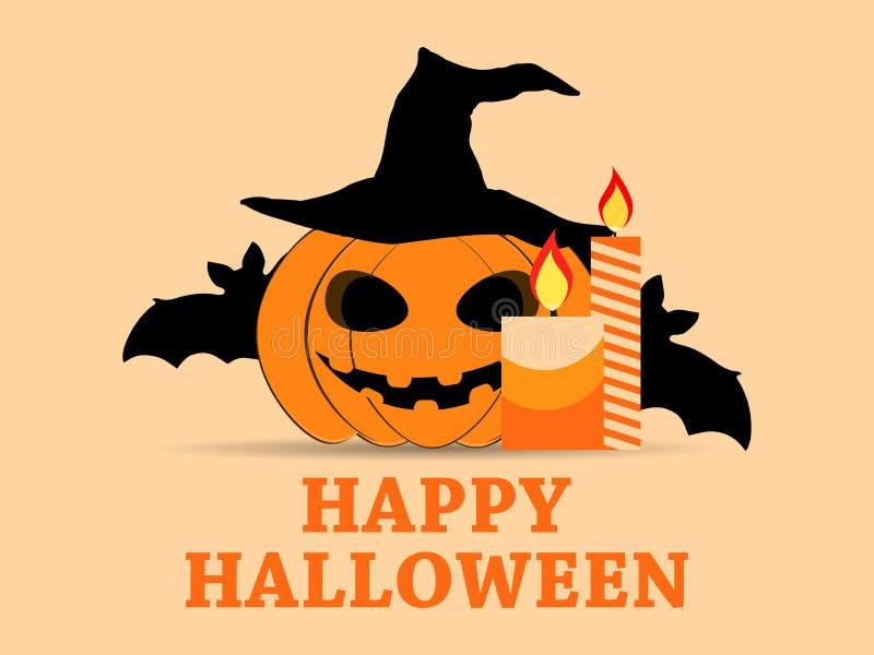 Lyckligt kort för hälsning för allhelgonaaftonOktober 31st ferie med pumpa, slagträn och stearinljus festliga symboler vektor royaltyfri illustrationer