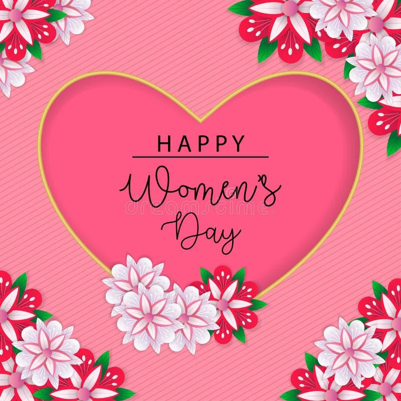 Lyckligt kort för hälsning för dag för kvinna` s på rosa bakgrund arkivfoto