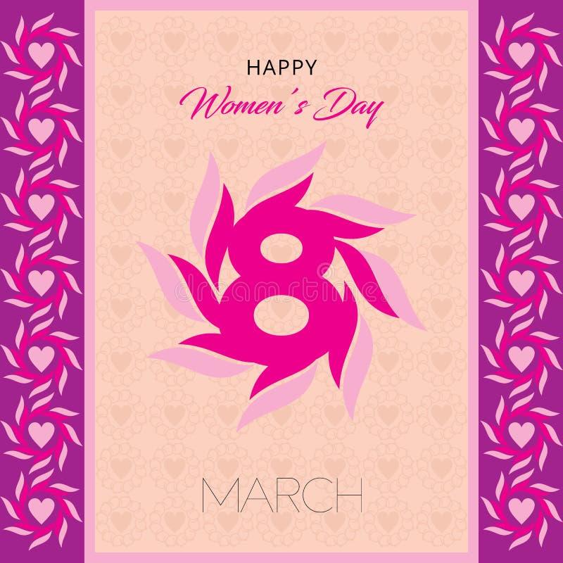 Lyckligt kort för hälsning för dag för kvinna` s Vykort på mars 8 Text med blommor royaltyfri illustrationer