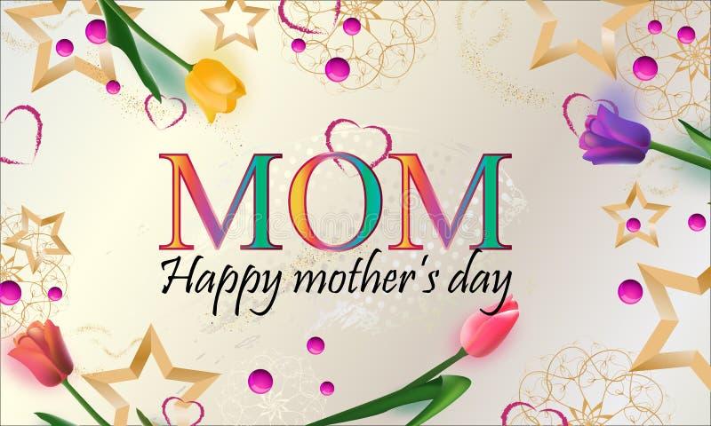 Lyckligt kort för hälsning för dag för moder` s Bakgrund med härliga tulpan och stjärnor, semestrar bakgrund också vektor för cor stock illustrationer