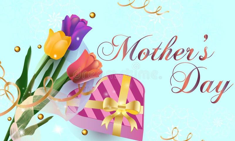 Lyckligt kort för hälsning för dag för moder` s Bakgrund med härliga tulpan, semestrar bakgrund också vektor för coreldrawillustr royaltyfri illustrationer