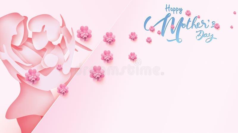 Lyckligt kort för hälsning för dag för moder` s Pappers- klippt stilbarndotter som kör och kramar till hennes mum för att gratule vektor illustrationer