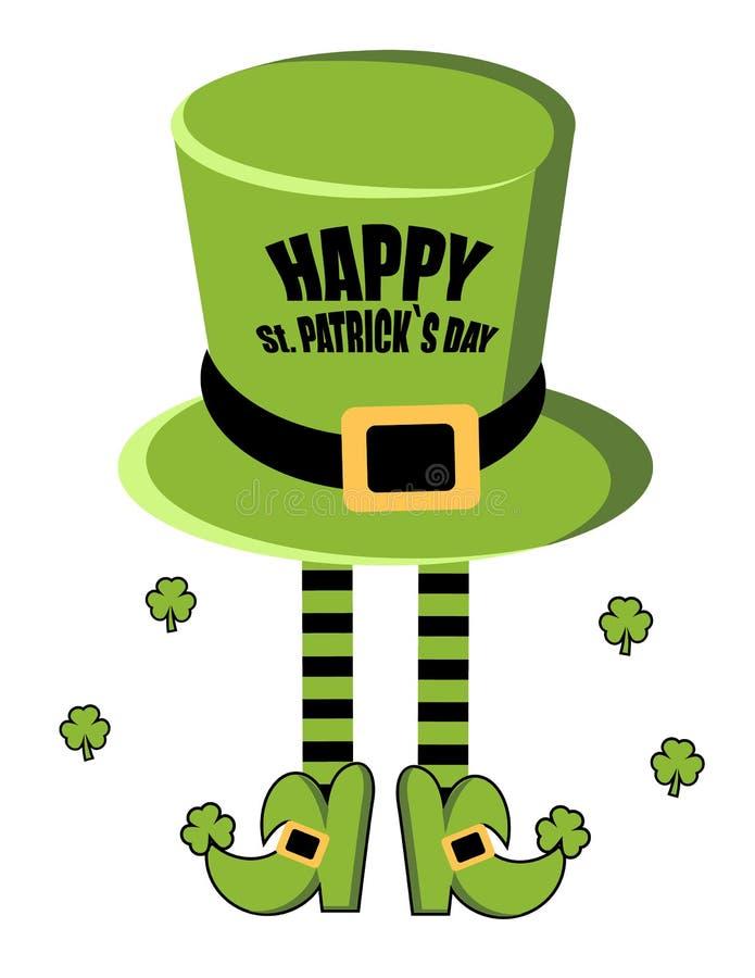 Lyckligt kort för hälsning för dag för St Patrick ` s Trollhatt ben av trollet i strumpor och skor shamrock också vektor för core vektor illustrationer