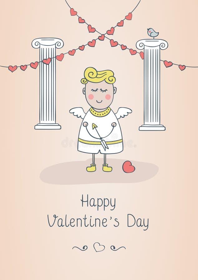Lyckligt kort för hälsning för dag för valentin` s med den gulliga flickan royaltyfri foto