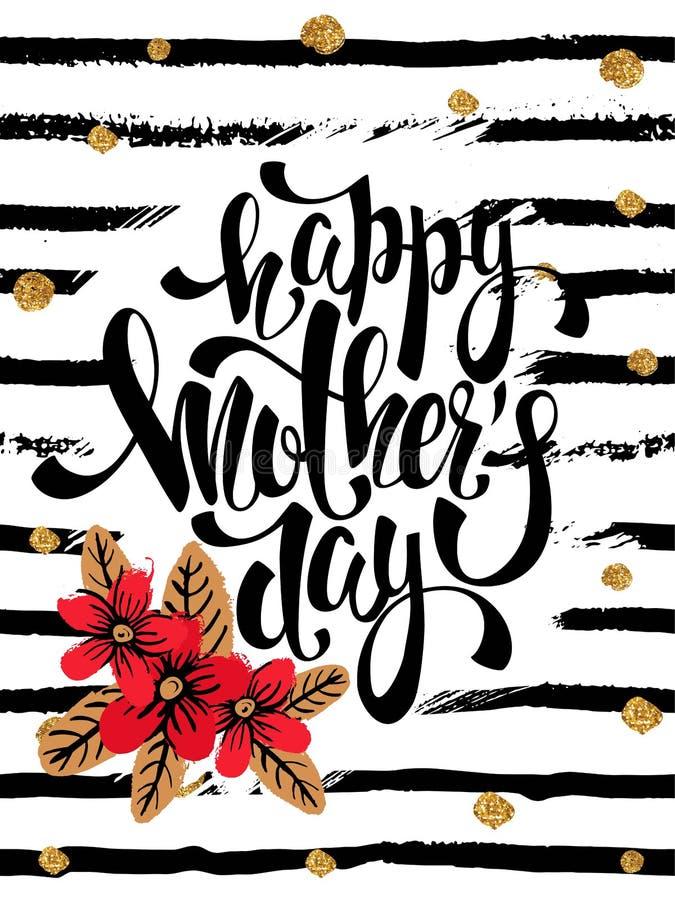 Lyckligt kort för hälsning för moderdag med röda blommor, bokstäver royaltyfri illustrationer