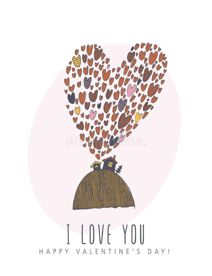 Lyckligt kort för hälsning för vektor för valentindag idérikt med det gulliga teckenet i linjen konststil Förälskelseaffisch med  royaltyfri illustrationer
