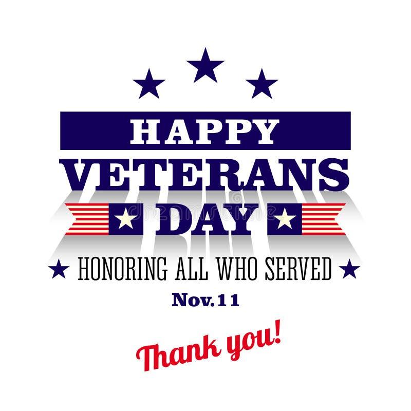 Lyckligt kort för hälsning för veterandag vektor illustrationer