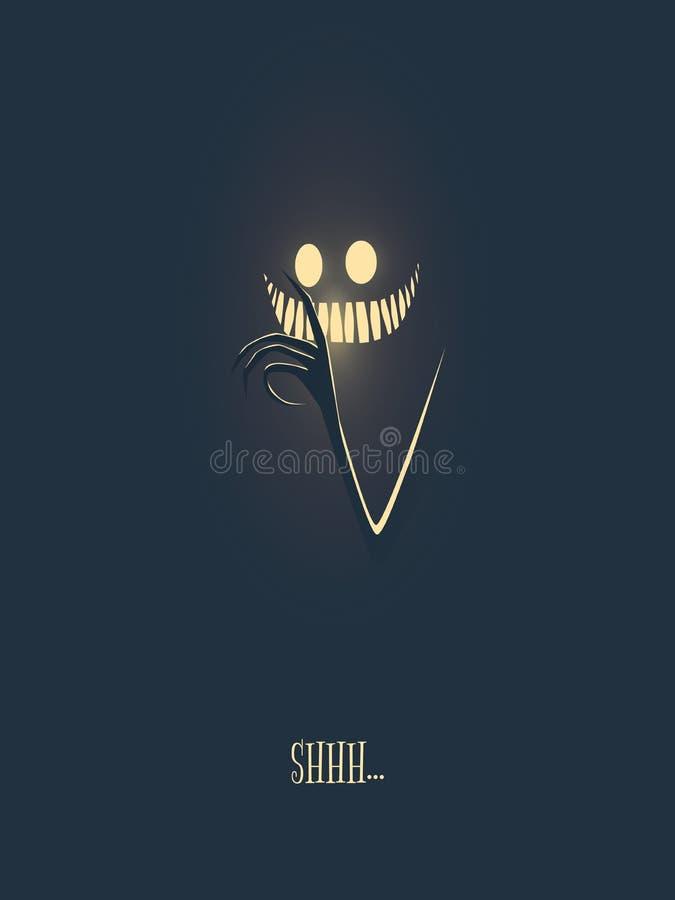 Lyckligt kort för halloween vektorillustration med monstret som glöder i den mörka natten, hans hand med kusliga fingrar och mun vektor illustrationer
