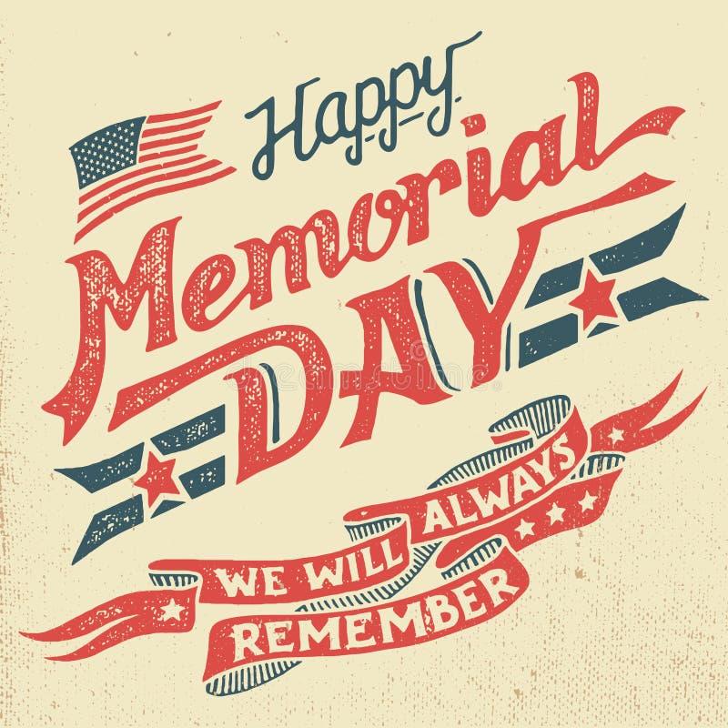 Lyckligt kort för Memorial Day hand-bokstäver hälsning stock illustrationer