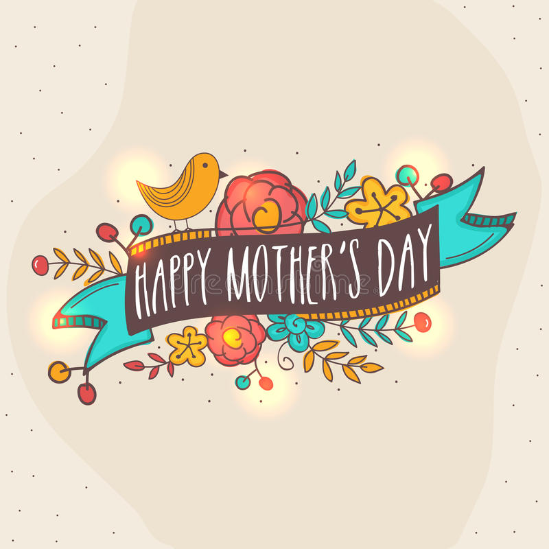 Lyckligt kort för mors dagberömhälsning royaltyfri illustrationer